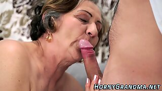 Hairy grandma gets banged