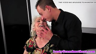 Cocksucking granny tittyfucked by big cock