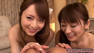 A hot japanese threesome, where these two horny japanese girls got their pussies pounded