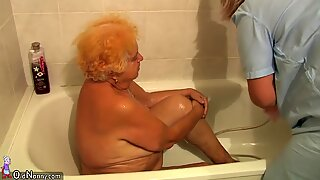 Very old chubby granny fucking with young guy